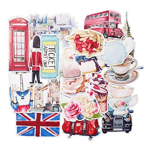 Navy Peony Eccentric England Travel Stickers (20 Pack) - Schattig, Waterdicht, Duurzaam | Esthetische Avontuur Stickers voor Waterflessen, Laptops, Scrapbook