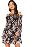 Romwe Women's Sexy Off Shoulder Dress Floral Print A Line Fit and Flare Mini Dress Black M