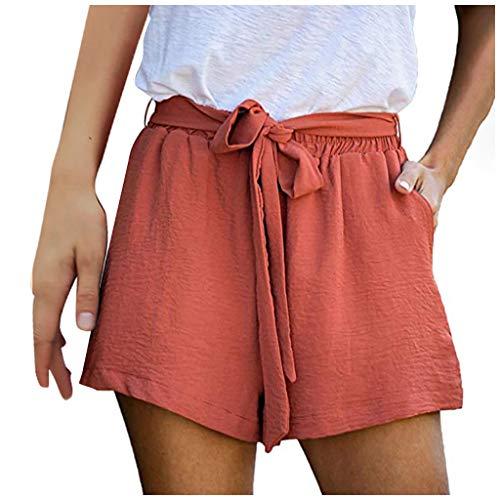 Xniral Damen Shorts Einfarbig Sommer Lose Kurze Hosen Mittlere Taille mit Kordelzug Hotpants Spleißen Beiläufige Breites Bein Kurze Hosen(c-Rot,S)