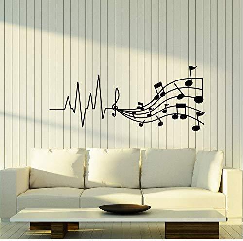 Notas Musicales Tienda De Música Pegatinas De Ventana Para Habitación De Niños Decoración De Pared Vinilo Arte Etiqueta Extraíble Papel Pintado 57X24Cm