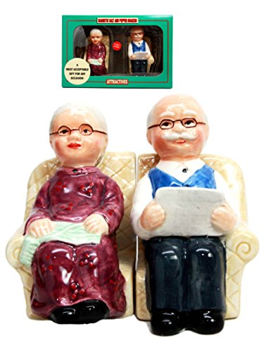 Unique old couple salt and pepper shaker set