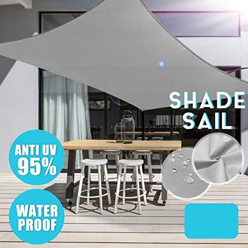 dDanke Gris 95% UV Bloque Rectangular Sun Shade Sail al Aire Libre Jardín Patio Fiesta Impermeable Cuadrado toldo toldo con 4 Cuerdas