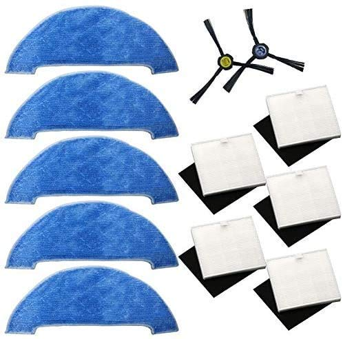 QIBIN Recambios para aspiradoras con filtro AD-Side Brush+Filter+Paño para fregona compatible con Ilife V8 V8S X750 A7 X800 X785 Accesorios para el hogar (color: multicolor) (color: multicolor)
