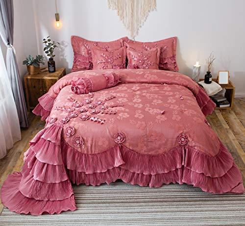 Tache Home Fashion Royal Princess Ruffled Victorian Comforter Set, Queen, Pink