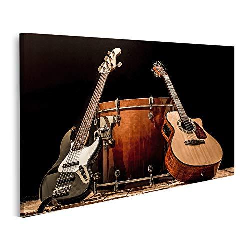 islandburner Cuadro en Lienzo Instrumentos Musicales Tambor bajo Barril Guitarra acústica Bajo eléctrico Concepto de música de Fondo Negro Cuadros Modernos Decoracion Impresión Salon