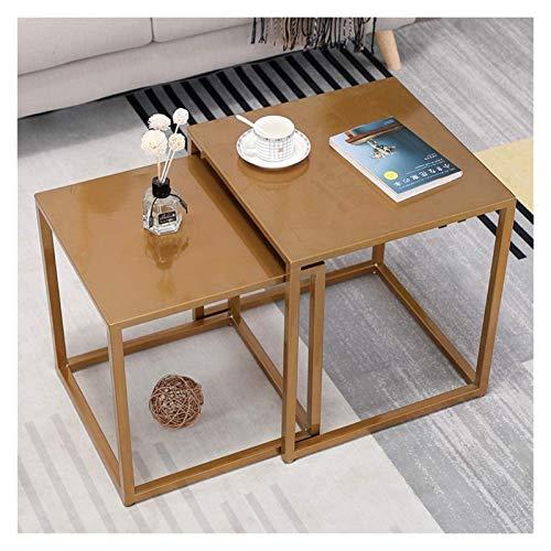 Mesitas de noche nido juego de 2, mesas auxiliares apilables, mesa de café anidada para sala de estar con marco de metal mesa auxiliar (color champán)