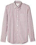 Marca Amazon - Goodthreads - Camisa cómoda de popelín elástico con manga larga, corte entallado, y de cuidado fácil, para hombre, Red White Check, US M (EU M)