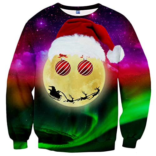 Hgvoetty Unisex Ugliest Christmas Sweater for Men Women Xmas Party Sweatshirts M