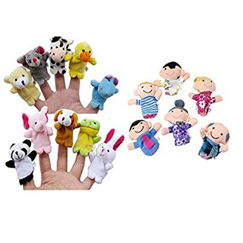 Transer Jouets pour bébé, 16pc Histoire Mignonne Finger Puppets 10 Animaux 6 Personnes Membres de la Famille Jouet éducatif