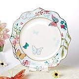 YAeele [Sakura Amore Europee Piatto di Ceramica Creativa del Merletto Piano Piatto Fondo Piatto Nest Cherry Blossoms Amore Orchidea Piatto Tavola 8 Pollici .Facile da Pulire