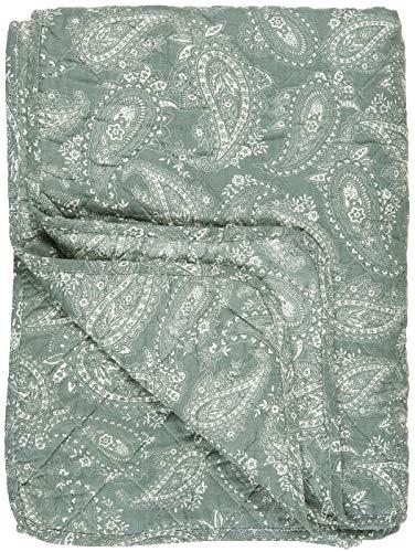 IB Laursen - Tagesdecke, Bettüberwurf, Quilt - Baumwolle - staubig Grün Paisley - 180 x 130 cm 0796-81