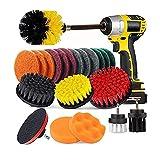 NOIFATY 22 unids/Set Drill Brush Scrub Pads & Sponge Power Scrubber Cepillo con un Accesorio Largo 22pcs Clean para el hogar Casa de Cocina Baño