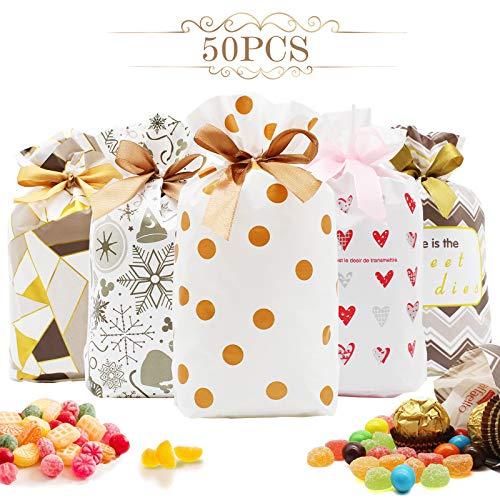 AMZLIFE 50 Stück Geschenkbeutel mit Kordelzug,Süße Kunststoff Bags Partytüte Candy Set Tüten kekstüten geschenktüten klein Süssigkeiten Beutel,für Hochzeit Geburtstag Babyparty Jahrestag Weihnachten.
