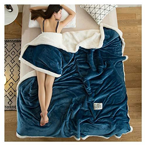 Bed Blankets Manta suave mullida y acogedora doble gruesa de franela cálida de color sólido sofá de la siesta Rollsnownow (color: cian, tamaño: 100 x 120 cm)
