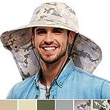 Tirrinia Camo Mens Sun Hat Wide Brim Safari Hunting Military Jungle Desert Cap with Neck Flap, Digital Grey