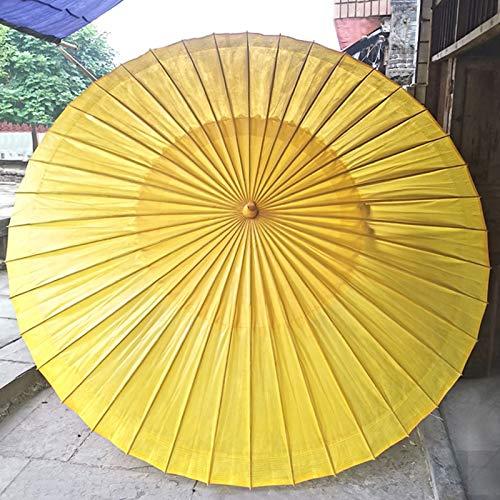Parasol Sombrilla De Papel De Aceite De 180 Cm Bambú Paraguas Hecho A Mano A Prueba De Lluvia Sombrilla Playa Clásico Chino A Prueba De Viento (Amarillo)