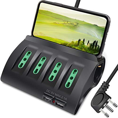 Extrastar Multipresa da Scrivania/Tavolo con 2 Presa USB,Presa con interruttore automatico di protezione 16A,Nero,3500W,6 Prese (4 ITA/Schuko),2M
