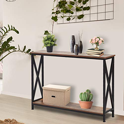 Kinsuite Console Tables for Entryway, Industrial Sofa/Entry Table Bookshelf w/Storage Shelf Hallway Living Room entryway Accent Furniture, Rustic Brown