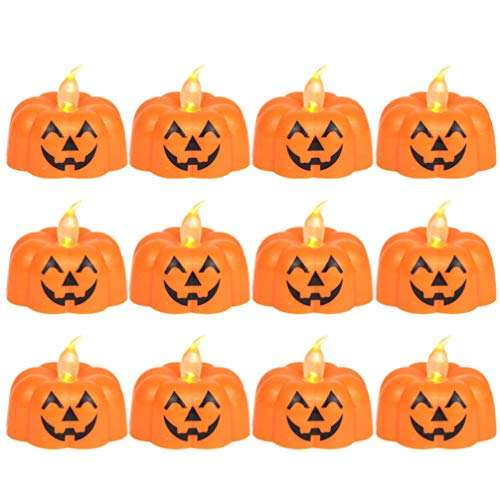 12Pcs Small Pumpkin Tea Lights LED Tealight Candles Candles for Halloween Holiday Theme Parties