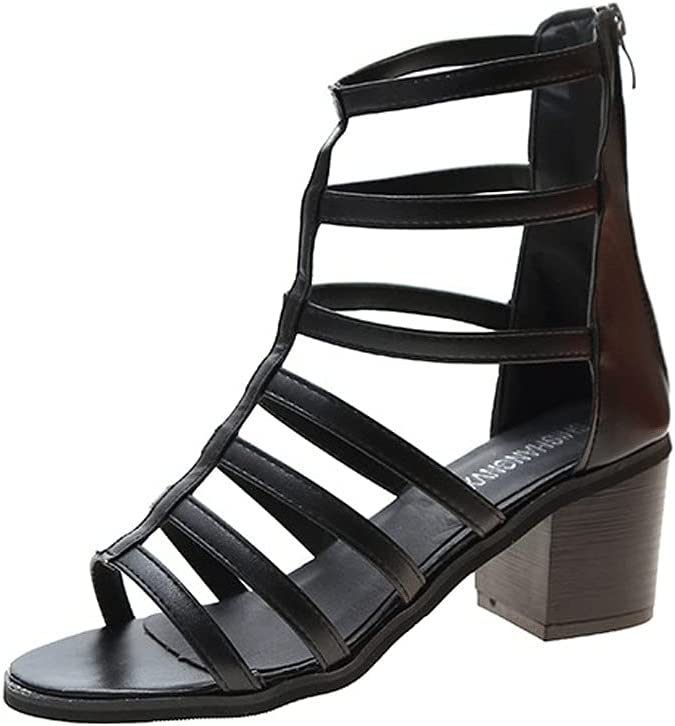 Ladies Open-Toed Sandals, Thick Heels, Non-Slip Wear-Resistant Gladiator Heels, Retro Roman Sandals, Leisure and Holiday Comfortable Zipper Straps (Color : Black, Size : 37EUR)