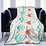 60'x50'-Throw Blanket, Coral and Teal Arrows Printed Lightweight Warm Bed Blanket Microfiber Fuzzy Blanket for Sofa Bed Couch Living Room All Seasons