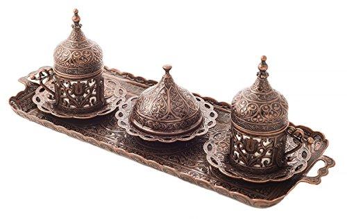 MisterCopper Juego de servir café árabe griego turco para 2, tazas, platillos...