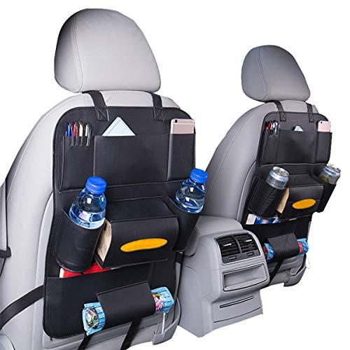 HCMAX 2 Pack Organisateur de Siège de Voiture Poche Backseat Stockage Protecteur Kick Mat Mini Porte-iPad Grand Accessoire de Voyage