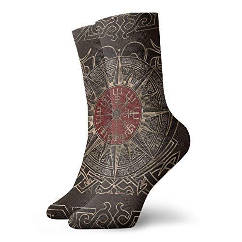 Vegvisir - Viking Compass Ornament Socks Classic Leisure Sport Short Socks 30cm/11.8inch Suitable For Men Women