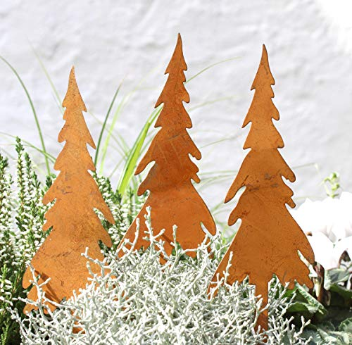 LB H&F 3er Set Lilienburg Weihnachtsdeko Roststecker Rost Metall wetterfest (Tannenbaum Set)