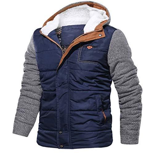 JenK Cing Herren Herbst Winter Patchwork Hoodie Reißverschluss Lose Outdoor Mantel Top Bluse Windbreaker Sweatshirt Zipper Kapuzen Jacke Parka Trench Tops Pullover Mode Lange Ärmel Outwear(Blau.L2)