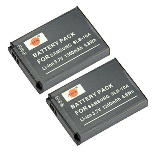 DSTE 2-Pieza Repuesto Batería Compatible con Samsung SLB-10A P800 P1000 PL50 PL51 PL55 SL102 SL310 SL420 SL502 SL620 SL720 SL820 TL9 WB150F WB250F WB350F WB500 WB550 WB750 WB800F WB850F WB1100F WB2100