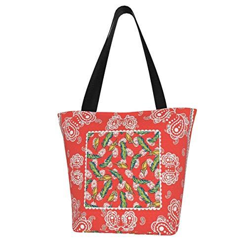 Sac fourre-tout en toile personnalisable, motif cachemire, bandana rouge, écharpe en soie, lavable, sac à main, sac à bandoulière, sac de courses pour femme