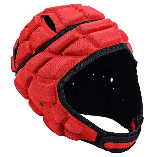 RSTJ-Sjcw Rugby-Helm Breath Rugby Kopfschutz Einstellbarer Rugby Kopfbedeckung Kopfschutz Schaumstoff gepolstert Torwart Helm Protektoren für Fußball-Fußball-Skateboard-Rollen-Skaten,Rot