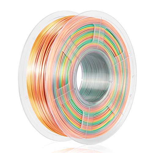 Silk Rainbow Filament, 1.75 mm Silk Filament for 3D Printing, Shiny PLA 1KG Spool, 3D Printer Filament Multicolor