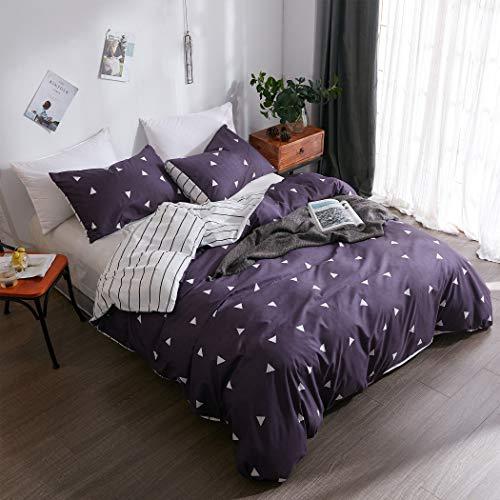 LAMEJOR Duvet Cover Set Twin Size Triangle Pattern Hotel Luxury Bedding Set Comforter Cover (1 Duvet Cover+2 Pillowcases) Blue/White