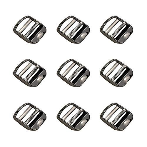 Nifocc 10 hebillas de metal con cierre de escalera deslizante, correas ajustables, hebilla de aleación de zinc, hebilla ajustable para mochila, accesorios de correa de 2,54 cm, 25 mm, plomizo