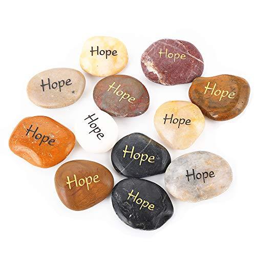 RockImpact 12 Stück Hope Steine mit Spruch Glück Gravierte Steine Gravur Inspirierende Steine Glücksbringer Ermutigung Dankbarkeit Geschenk Glückssteine (Großhandel, je 5-8 cm)