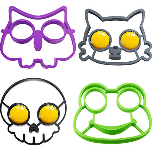 4 Pieces Cute Funny Silicone Egg Mold Breakfast Molds Cat Skull Owl Frog Shape Egg Mold Fried Egg Ring Nonstick Molds Pancake Mold