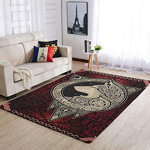 OwlOwlfan Viking Wolf Carpets Soft Durable Area Rugs Yoga Mat for Indoor Outdoor Home Kitchen Cafe Office white 122x183cm