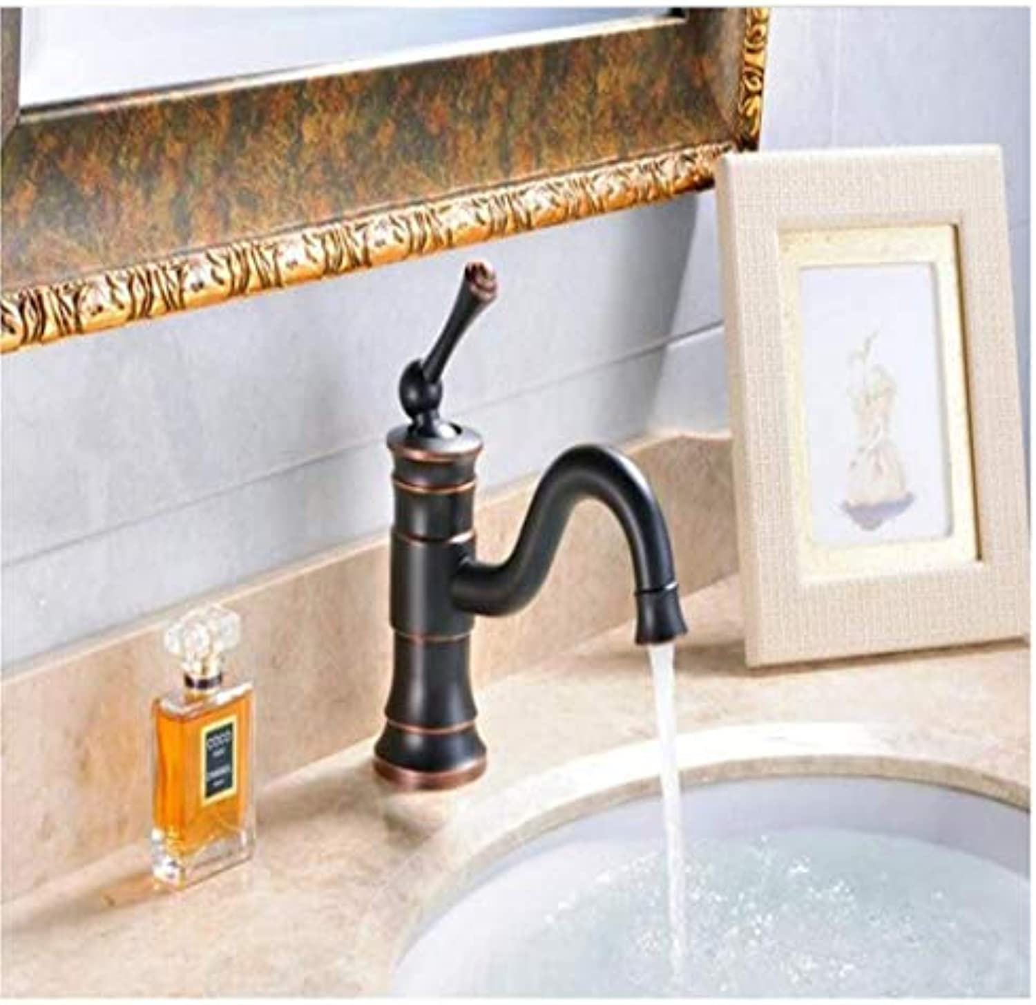 Vintage Brass Hot And Cold Water360 Degree Rotation Washbasin Design Oil Rubbed Bronze Bathroom Faucet Mixer Hot And Cold schwarz Water Taps For Basin Of Bathroom