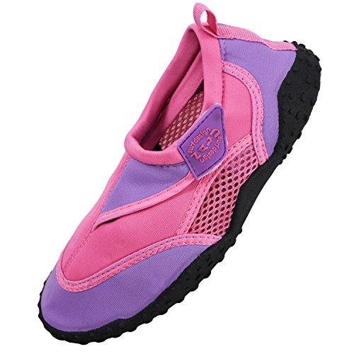 Nalu Hook & Loop Aqua Surf / Beach / Wetsuit Shoes (Kids UK 13 / EU 32, Pink with Lilac Trim)