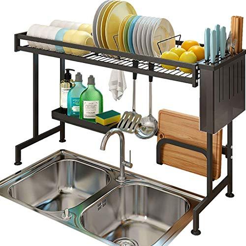 Estante de secado for platos, Black 201 Cocina de acero inoxidable Rack Dren Rack Driny Shind - Guardar espacio de cocina Debe tener (Size : 85 * 28.5 * 51cm)
