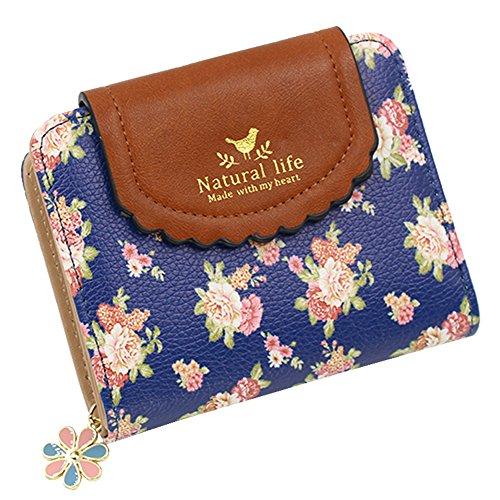 Woky Klein Portemonnaie Damen Mini Geldbörse Frauen RFID Geldtasche Portmonee Mädchen Kurz Geldbeutel Brieftasche mit Reißverschluss