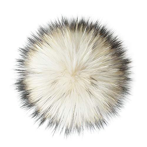 ENJOYFUR Echter Waschbär Fuchs Pelz Pompon mit Knopf Real Big Fluffy Pelz Ball für Beanies DIY Pelz Zubehör - Weiß - Einheitsgröße