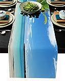 Camino de mesa de arpillera de lino para aparador, bufandas de 13 x 120 pulgadas, bahía azul y nubes blancas con palmas de coco para fiestas de vacaciones, comedor, hogar, decoración de boda