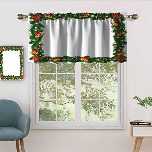 Hiiiman Small Window Valance CurtainsLight Filtering Xmas Themed Garland with Candy Canes Ribbons Colorful Baubles, Set of 1, 52'x18' for Kitchen Dining Girls Room