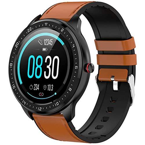 LTLJX Runden Sportuhr Fitness Tracker Smartwatch Damen Armband Uhr 1.3 Zoll IPS Touchscreen Intelligente Uhr mit Schrittzähler Pulsuhr IP67 Wasserdicht Smart Watch für iOS Android,Braun