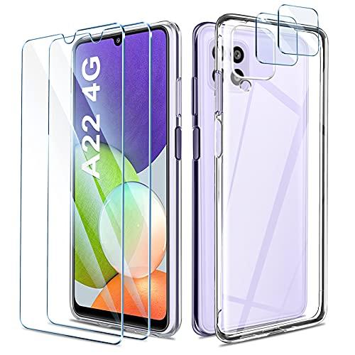 AROYI Hülle Kompatibel mit Samsung Galaxy A22 4G(Nicht für A22 5G), 2 Stück Panzerglas Schutzfolie & 2 Stück Kamera Schutzfolie, Superdünn Transparent Anti-Gelb Anti-Kratzer TPU Schutzhülle