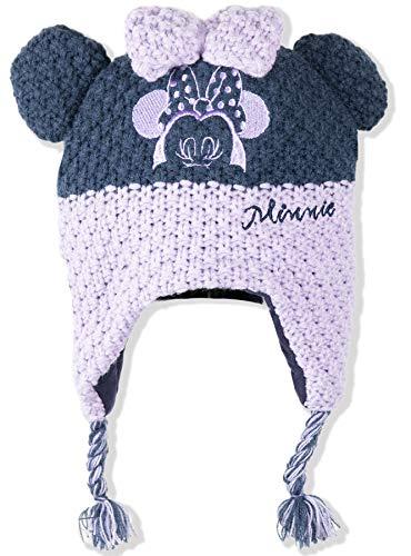 Disney Minnie Mouse Bonnet d'hiver chaud en coton tricoté avec protection des oreilles pour bébé fille 0-2 ans - Violet - 50 cm (aprox 12-24 mois)