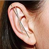 FeFly Ear Wrap Crawler Hook Earrings, Beauty Stud Cuff Earrings, Ear Cuff Wrap Clip Stud Ear Crawler Earring Jewelry Gift for Women Girls (D)